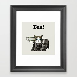 Tea Vadercat Grey Framed Art Print