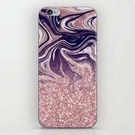 Modern Rose Gold Sparkle Melt iPhone Skin