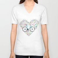 brompton V-neck T-shirts featuring I Love My Bike by Wyatt Design