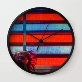 Native American & Flag of America, B Wall Clock