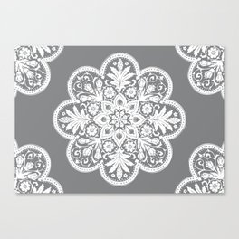 Floral Doily Pattern | Grey and White Canvas Print