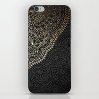 black and gold iPhone & iPod Skins featuring black & gold by Pink Berry Patterns