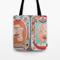 monster Tote Bags featuring Monster Focals by Valeriya Volkova