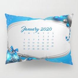 2020 January Calendar blue background Blue Christmas balls Christmas 2020 concepts 2020 Calendars Ja Pillow Sham