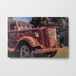 Rusting Pickup Near an Outhouse Along Route 66 in Paris Springs Missouri Metal Print