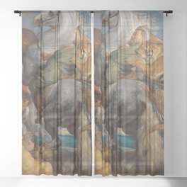 Big cats attacking soldiers on horseback Sheer Curtain
