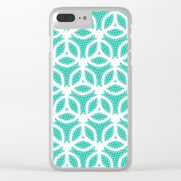 Bright Turquoise and White circle pattern Clear iPhone Case