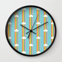 Proud rainbow cloud pattern Wall Clock