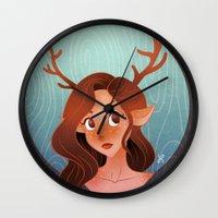 fawn Wall Clocks featuring Fawn by Lauren Draghetti