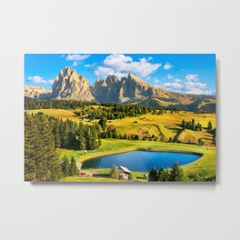 Lake and Mountains in Alpe di Siusi, Dolomites Metal Print