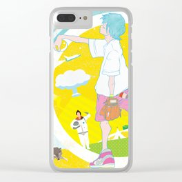 SUPER ULTRA MIRACLE SPACE GALAXY THUNDERBOLT INDIAN FIRE VOLCANO CATTLE MUTILATION LONELY WOLF BALL Clear iPhone Case