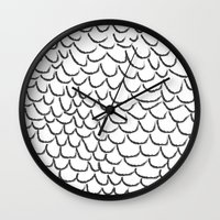 angel wings Wall Clocks featuring angel wings by her art