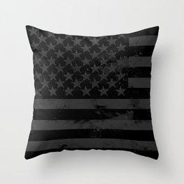 Black American Flag Throw Pillow
