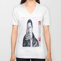 rap V-neck T-shirts featuring Rap God! by DrewzDesignz