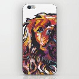 Ruby Cavalier King Charles Spaniel Dog Portrait Pop Art painting by Lea iPhone Skin