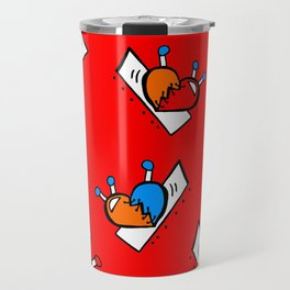 Hearts with Stitches - Blue Red Orange - Bright Red Travel Mug