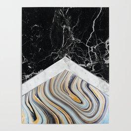 Arrows - Black Granite, White Marble & Blue Marble #182 Poster