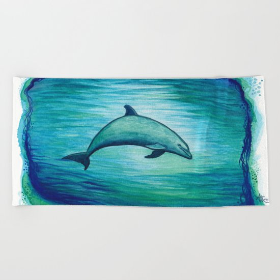 """Indigo Lagoon"" by Amber Marine ~ Watercolor Dolphin Painting, (c) 2015 Beach Towel"
