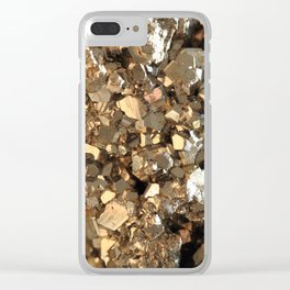 Golden Pyrite Mineral Clear iPhone Case
