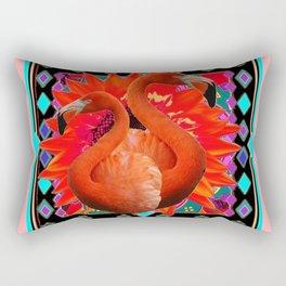 CORAL ART DECO SAFFRON FLORIDA FLAMINGOS ART Rectangular Pillow