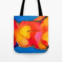 nudes Tote Bags featuring Nudes: Atlas II by Adam James David Anderson