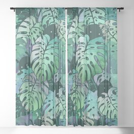 Monstera Monsters Sheer Curtain