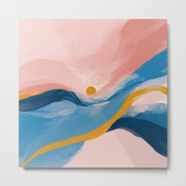 Pink and Blue Abstract Art Ocean and Sunrise Metal Print