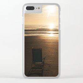 Beach Chair at Sunrise Clear iPhone Case