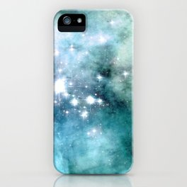 nEbulA Aqua Teal Sparkle iPhone Case