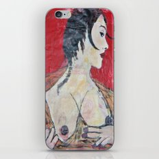 PORTRAIT OF A LADY EXPOSING HER TITS iPhone & iPod Skin