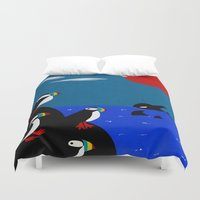 puffin Duvet Covers featuring Puffin Rock by V.L. Durand