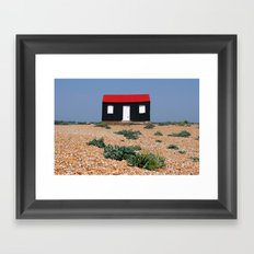 Beach Hut with a Red Roof Framed Art Print