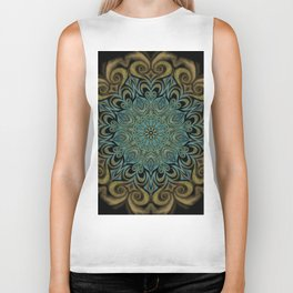 Teal and Gold Mandala Swirl Biker Tank