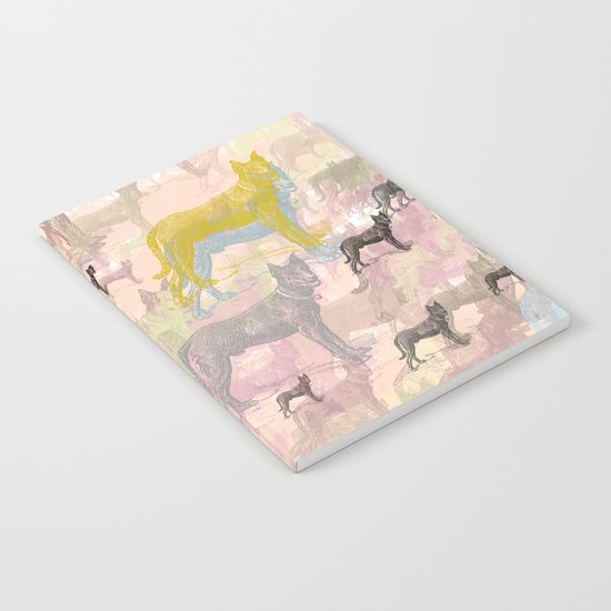 Sky Dogs - Abstract Geometric pink mauve mint grey orange Notebook