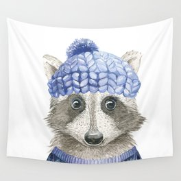 Raccoon face Wall Tapestry