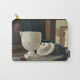 British Victorian Interior Frank Richards Study of an Urn with Daffodils Oil on Canvas still life portrait painting Carry-All Pouch