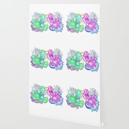 Enamored birds kissing Wallpaper