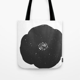 Black and White Poppy Tote Bag