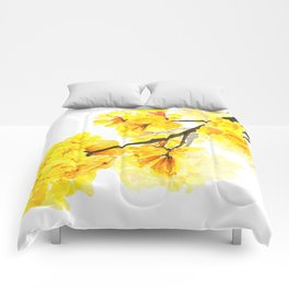 yellow trumpet trees watercolor yellow roble flowers yellow Tabebuia Comforters