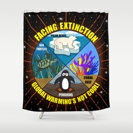 Facing Extinction:  Global Warming's Not Cool Shower Curtain