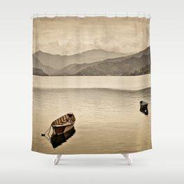 Lone boats on Phewa Lake, Pokhara, Nepal Shower Curtain