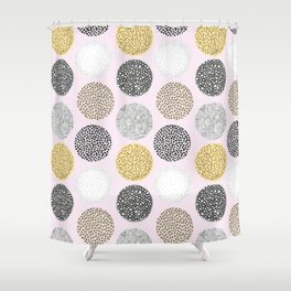 Yellow, White, Gray, Pink and Black Circle Print Shower Curtain