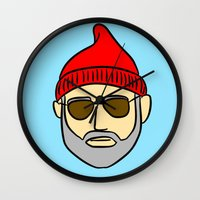 steve zissou Wall Clocks featuring Steve Zissou by CozyReverie