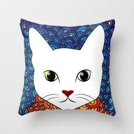 Mr Cat in Starry Night Throw Pillow