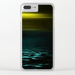 Yellow sky and blue sea at twilight Clear iPhone Case