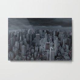 Stormy New York City, Manhattan skyscraper skyline, black and white photography - photograph Metal Print