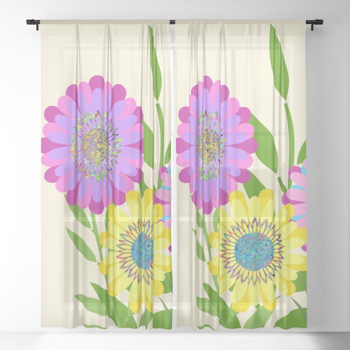 Three Fancy Flowers Sheer Curtain By Melissajbarrett
