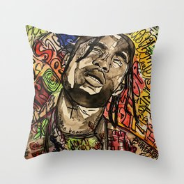 La flame,music,hiphop,poster,astro world,tour,wall art,artwork,painting,colourful Throw Pillow