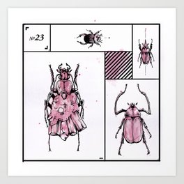 Bugs+Stones (Red) Art Print