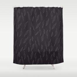 Linear Leaves - Dark Shower Curtain